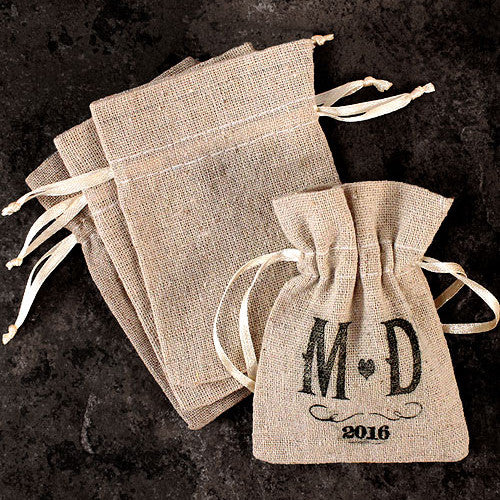 Mini Linen Drawstring Pouch DIY rubber stamping (not included)