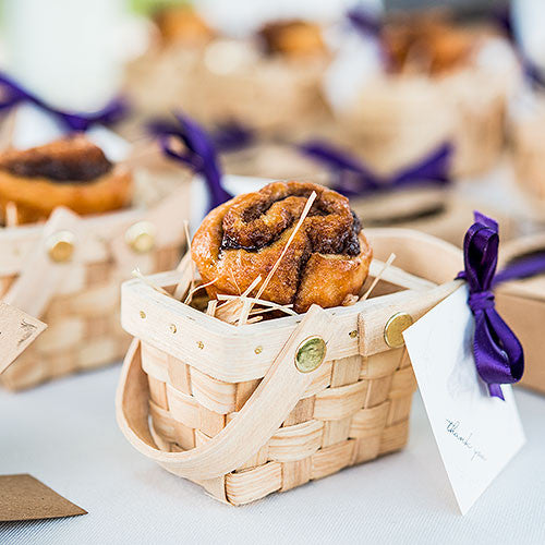 Mini Picnic Basket Favor Cinnamon Roll Idea