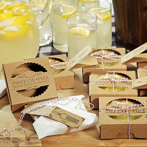 A group of the Mini-Pie Wrapping Kit for Wedding Favors wrapped and filled with mini pies.