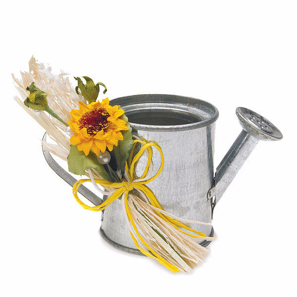 Mini Watering Can Wedding Favor decorated with flowers (not included).