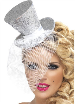 Silver Glitter Mini Top Party Hat on Headband with Veil
