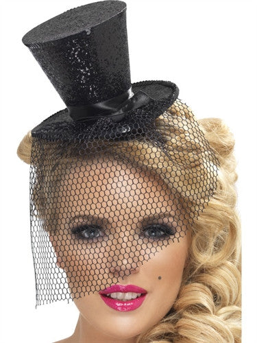 Black Glitter Mini Top Party Hat on Headband with Veil