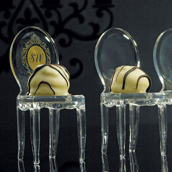 Miniature Clear Acrylic Phantom Chair with White Chocolate Truffle on the Seat