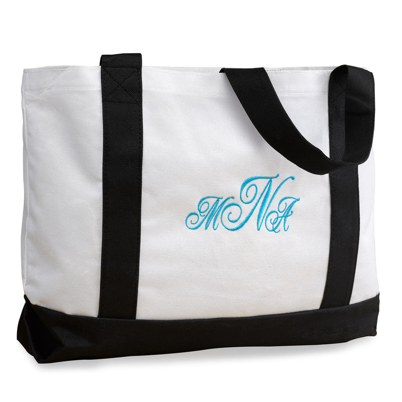White and Black Monogram Tote Bag  Apps   Save