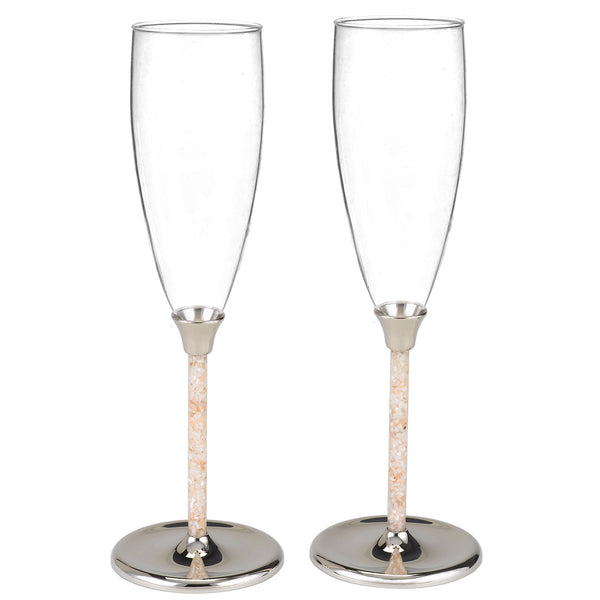 Rock Candy Filled Champagne Glasses: Mother Of Pearl Wedding Flute Toasting Set