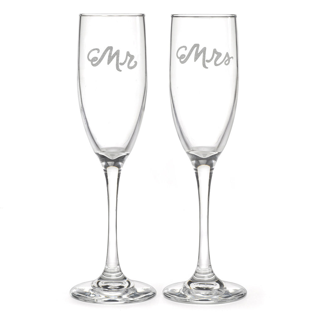 Mr and Mrs Silver Champange Flutes