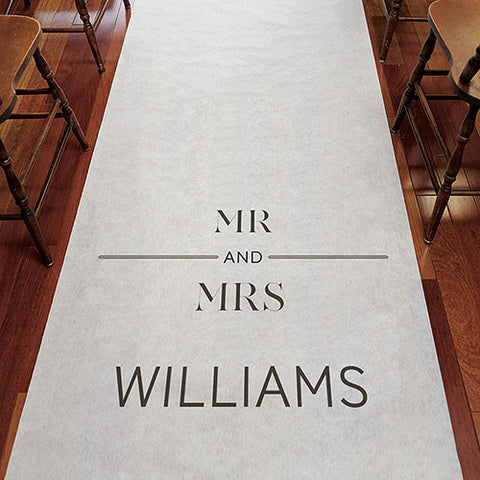 Mr and Mrs Personalized Wedding Aisle Runner