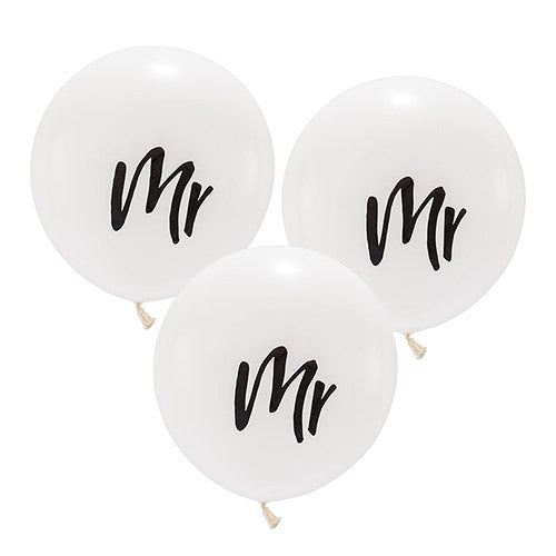 MR 17-inch Balloon Wedding Bridal Shower White and Black
