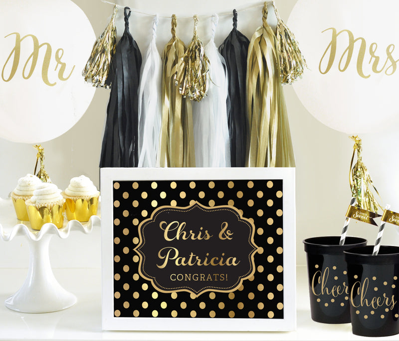 White and Gold Mr & Mrs Wedding Party Balloons (Set of 3)
