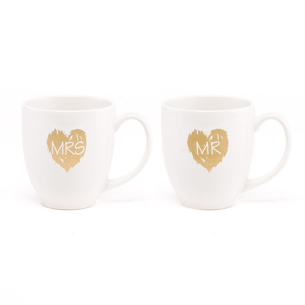 Gold Heart Mr and Mrs Coffee Tea Cup Gift Set