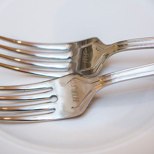 Mr. & Mrs. Wedding Ceremony Cake Fork Set
