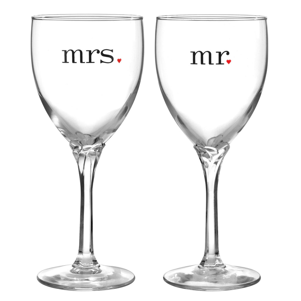 Mr and Mrs Wedding Anniversary Wine Glass Gift Set