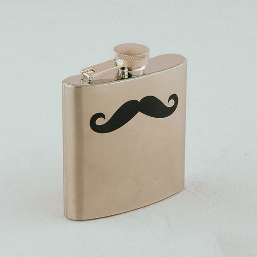 Mustache Stainless Steel Flask personalized with initials, monogram or a special message.