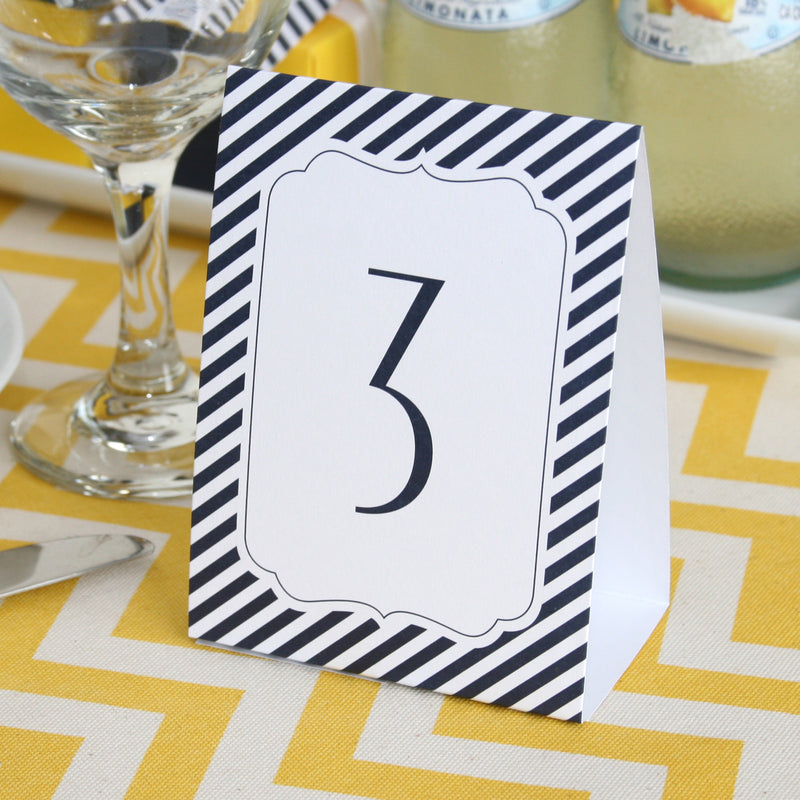 Navy Stripe Wedding Party Table Number Tents