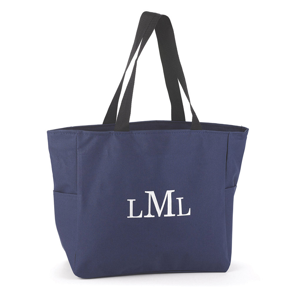 Personalized Navy Tote Bag with Monogram