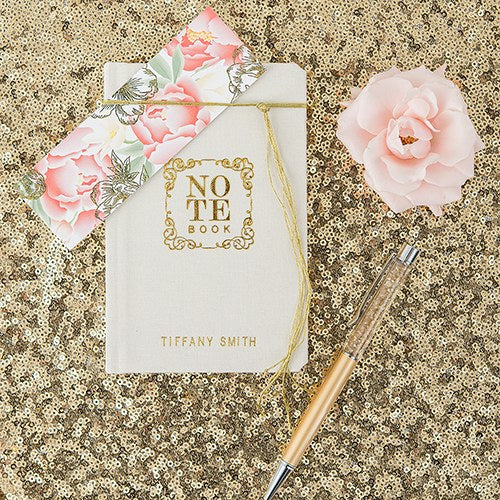Personalized Themed Linen Wedding Ceremony Vows Pocket Journal