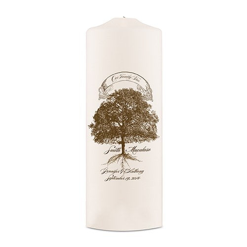 Personalized Wedding Ceremony Family Tree Oak Tree Pillar Candle