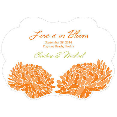 Tangerine Orange Zinnia Bloom Hand Fan with personalized message, bride and groom's name and wedding date.