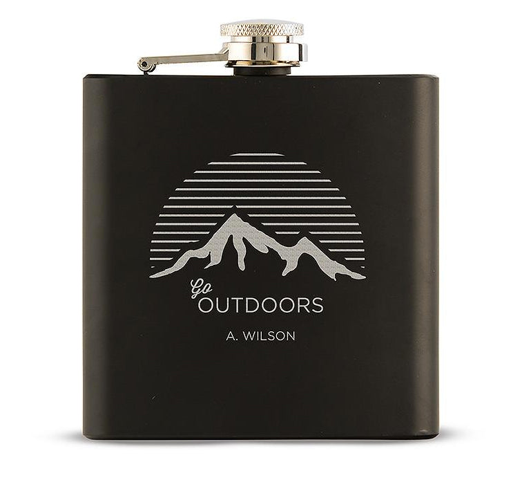 Personalized Mountain Go Outdoors Etched Black Hip Flask