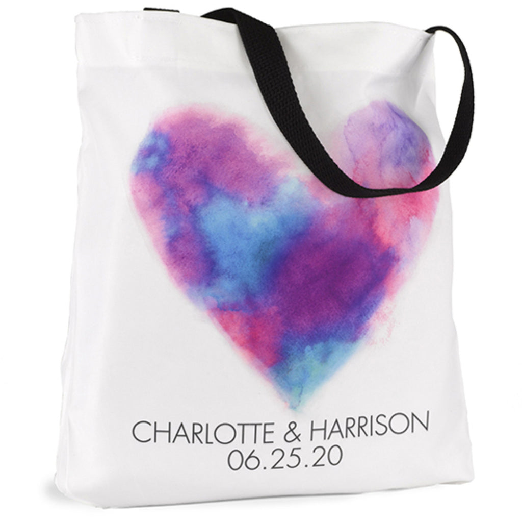 Personalized Painted Heart Wedding Party Welcome Tote Bag
