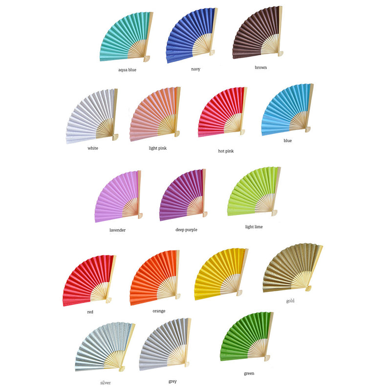 Personalized Paper Fans for Weddings and Parties (Pack of 36 Hand Fans)