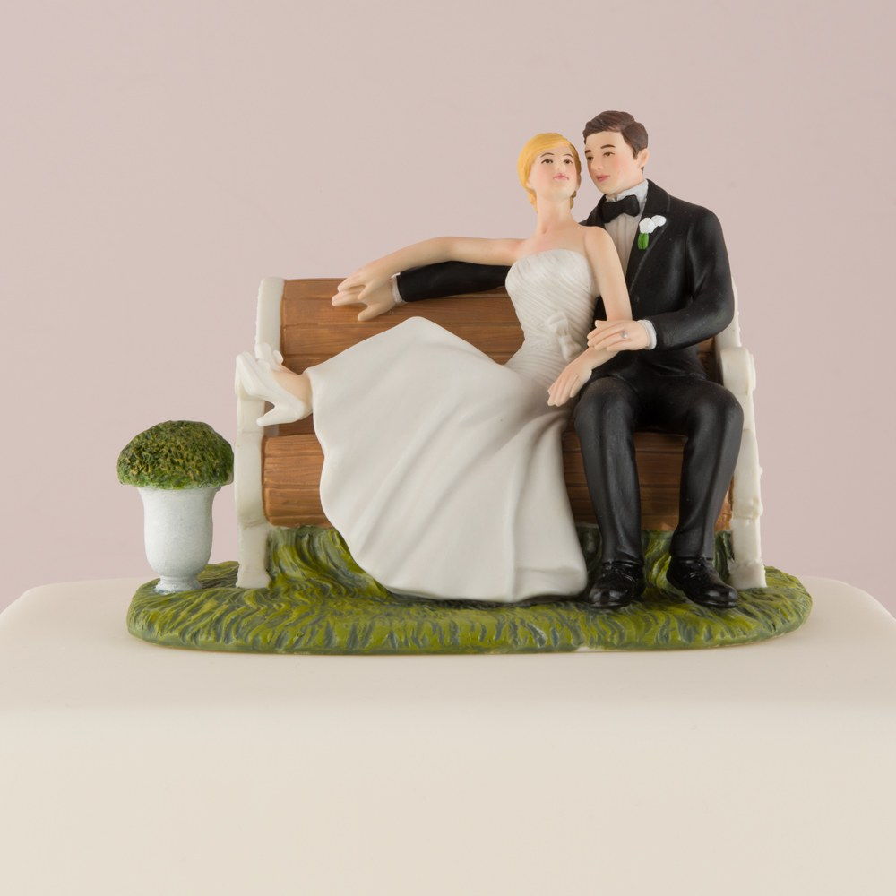 Sitting on a Park Bench Bride and Groom Wedding Cake Topper