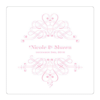 Pastel Pink Fanciful Monogram Personalized Clear Acrylic Block Cake Topper
