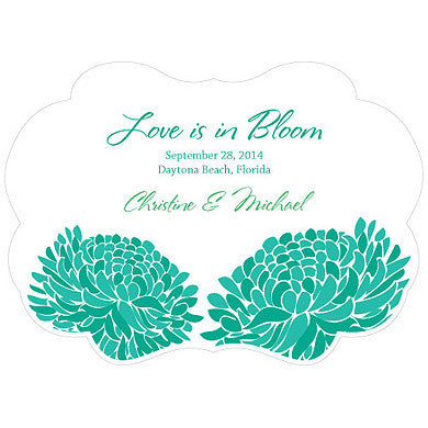Green Zinnia Bloom Hand Fan with personalized message, bride and groom's name and wedding date.