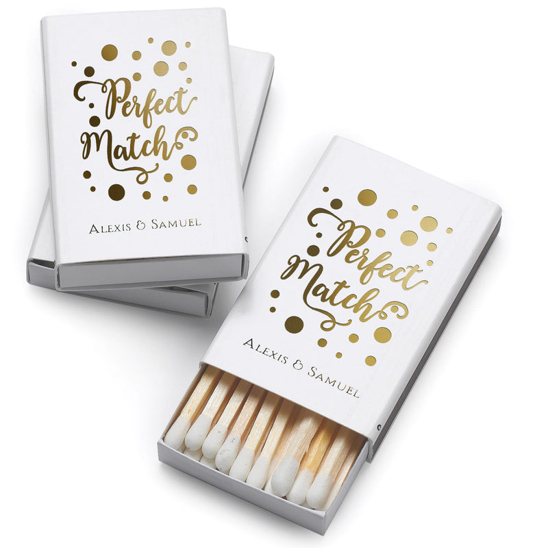 Perfect Match Wedding Favor Box of Matches (Pack of 100)