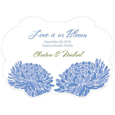 Blue Zinnia Bloom Hand Fan with personalized message, bride and groom's name and wedding date.