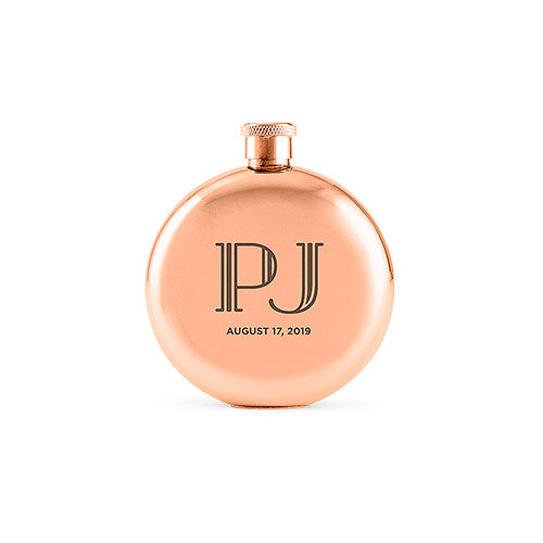 Personalized Rose Gold Flask with Vintage Text