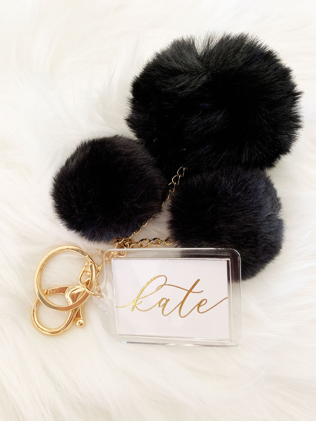 Personalized Pom Pom Keychain Wedding Party Favors