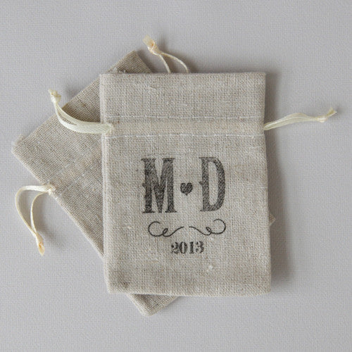 The Vineyard Personalized Rubber Stamp stamped onto a linen wedding favor bag. (Bag not included)