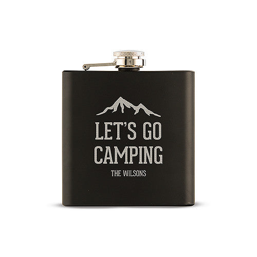 Personalized Let's Go Camping Hip Flask