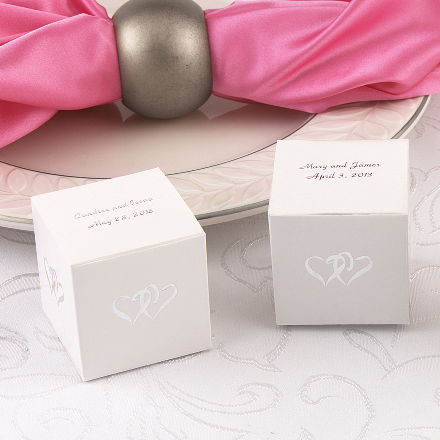 Personalized Linked Hearts White Favor Box – Candy Cake Weddings