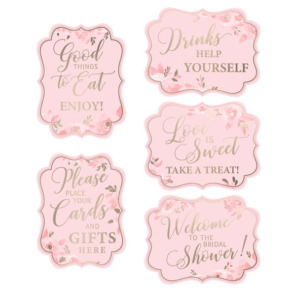 Bridal Shower Party Signs Pink and Gold (Set of 5)