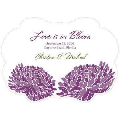 Plum Zinnia Bloom Hand Fan with personalized message, bride and groom's name and wedding date.