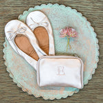Bride and Bridesmaid's Pocket Shoes with Personalized Bag