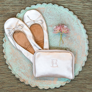 Gold Women's Pocket Shoes with Personalized Bag