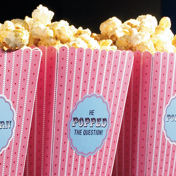 "Engagement party food idea with ""He Popped the Question"" Popcorn"