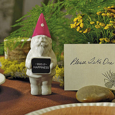 The Mini Gnome Wedding Favor used for the table centerpiece.