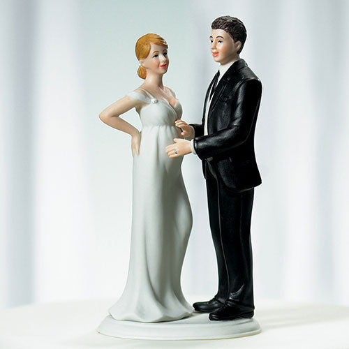 Expecting Pregnant Shotgun Wedding Bride and Groom Wedding Cake Topper