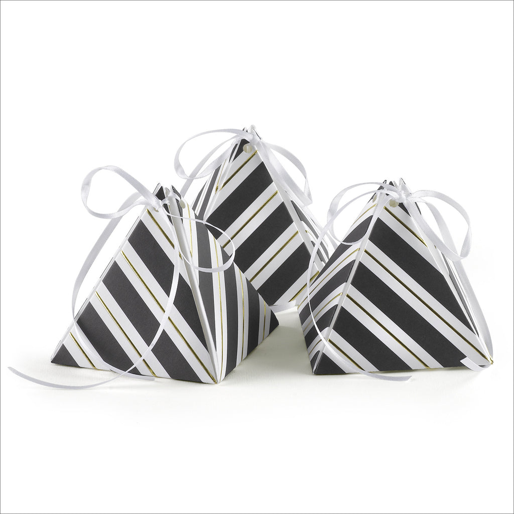 Black and White Striped Pyramid Wedding Party Favor Box
