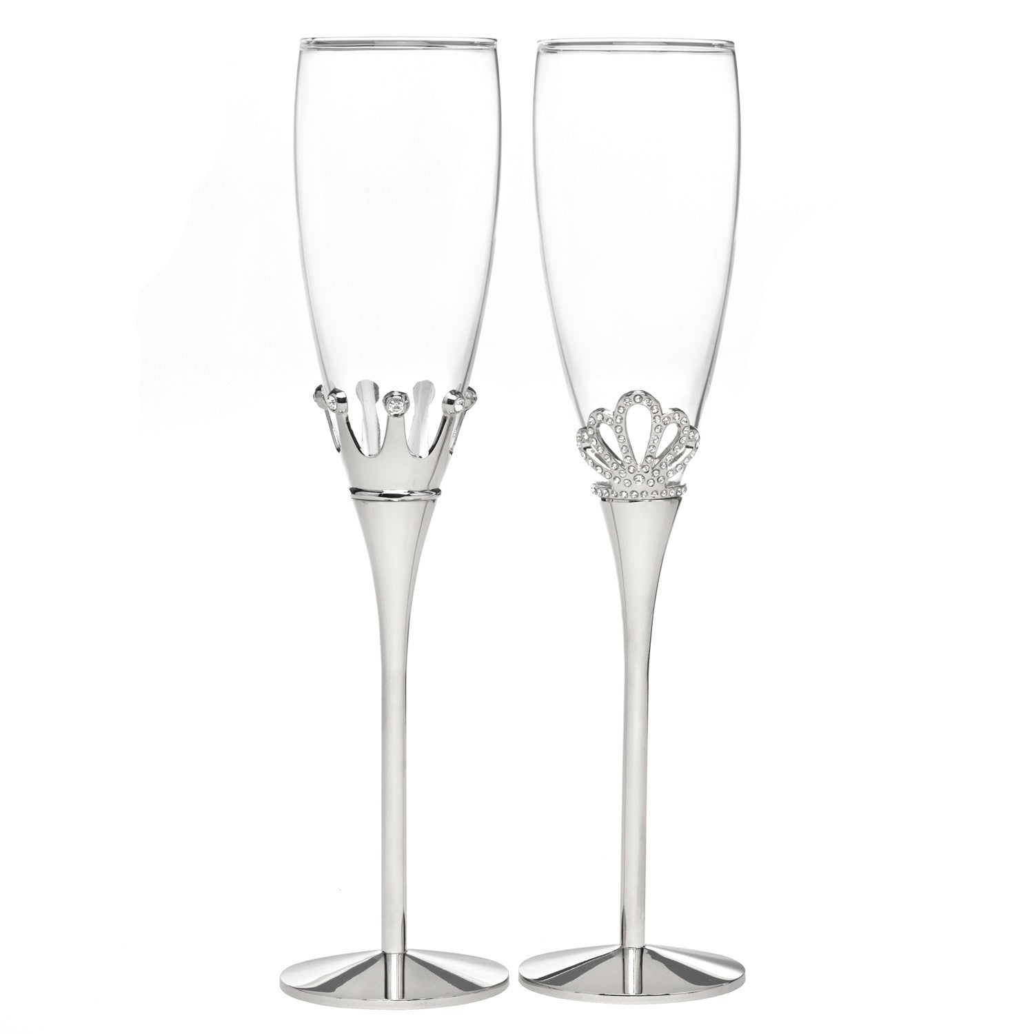 King and Queen Rhinestone Champagne Flute Set – Candy Cake Weddings