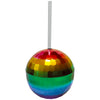 Rainbow Disco Ball Cup with Straw