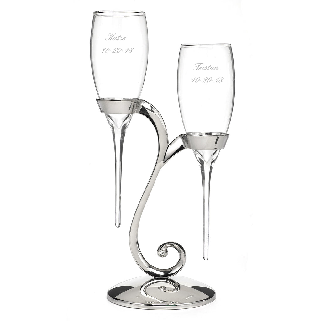 Raindrop - Champagne Flute with Swirl Stand