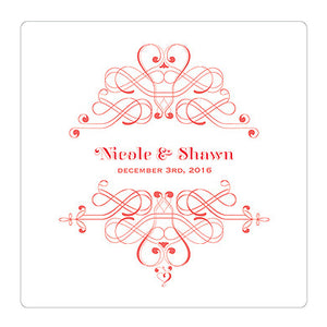 Red Fanciful Monogram Personalized Clear Acrylic Block Cake Topper