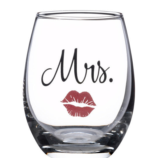Mrs. Drink Glass with Red Lipstick Theme