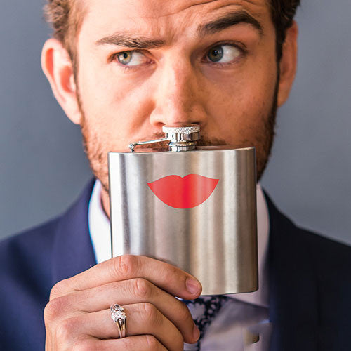 Flirty Red Lips Stainless Flask