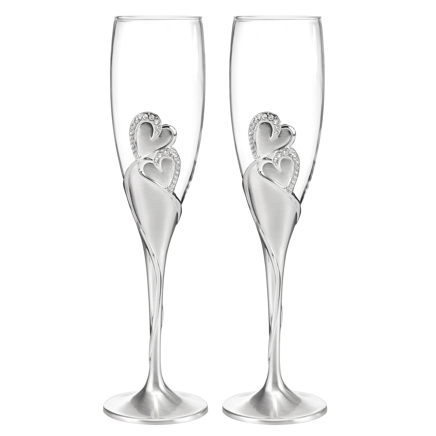 Rhinestone Hearts Bride Groom Champagne Flutes – Candy Cake Weddings